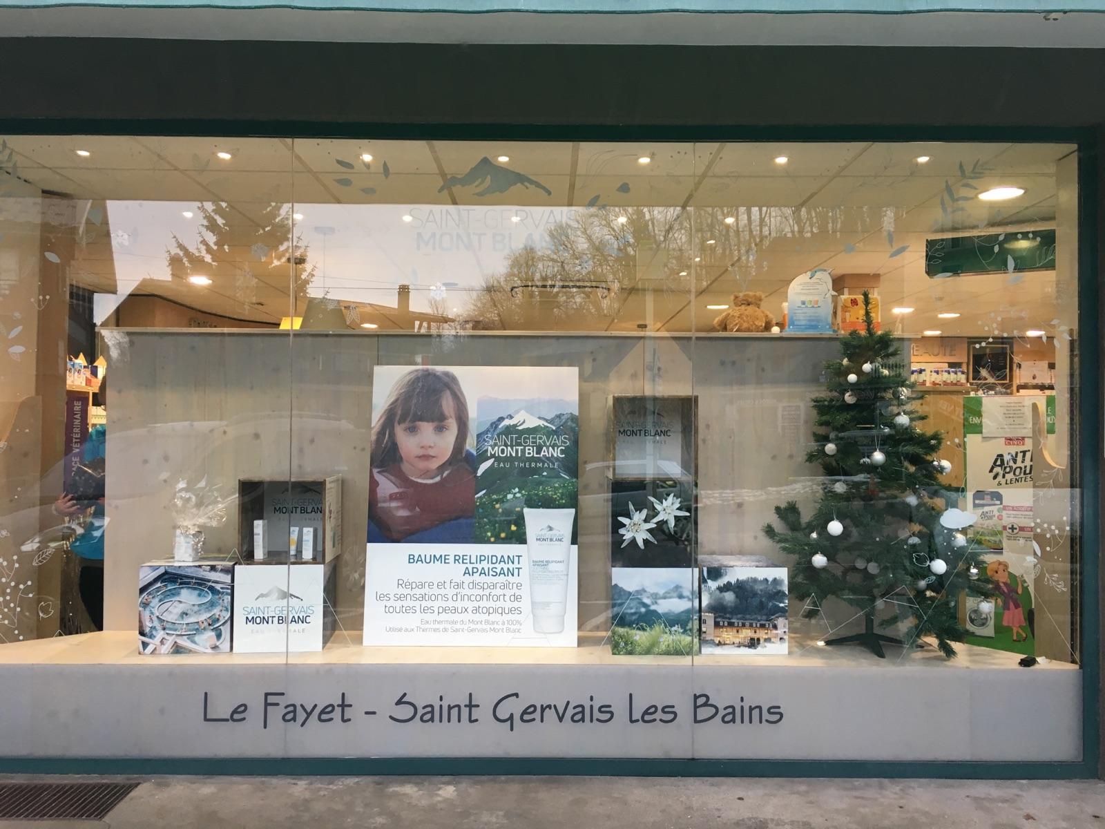 PLV Vitrine cosmétique : Saint-Gervais Mont-Blanc