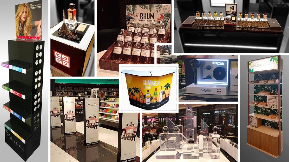PLV Bois, Corner Événementiel, Glorifier, Présentoir Rétro-éclairé, Présentoir de comptoir, PLV Parfum, PLV Carton, Présentoir de Gamme, Présentoir de dégustation