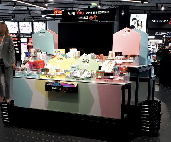 Présentoir magasin, PLV de sol Sephora