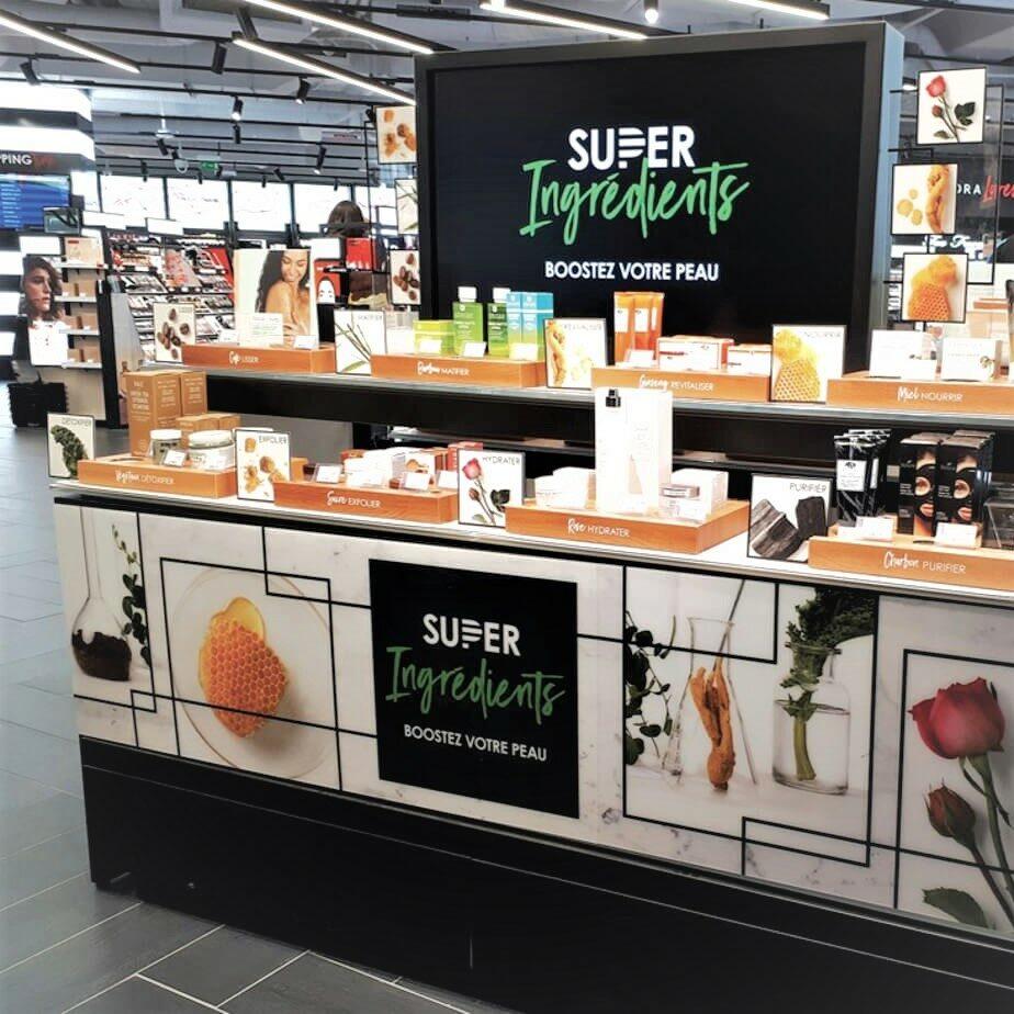 PLV cosmétique – Super Ingrédients chez Séphora